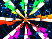 Colorful Beams Background Means Stars And Hexagonal Stock Images