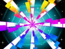 Colorful Beams Background Shows Hexagons And Night Sky Royalty Free Stock Photo