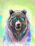 Colorful Bear Illustration. Bright Poster Royalty Free Stock Photo