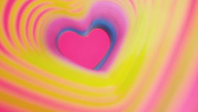 Colorful beating heart Rainbow spring. Valentine`s Day concept. Pink heart frame slow motion. Lgbt glbt sign. Colorful beating heart Rainbow spring. Valentine`s stock video footage