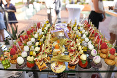 Delicious and Colorful Bite-Sized Food Tray, Colorful Amuse-Bouches Stock Photos
