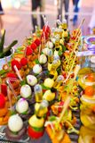 Food Tray, Bite-Sized, Delicious, Colorful Amuse Bouches Royalty Free Stock Images