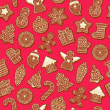 Colorful beautiful Christmas cookies icons pattern Royalty Free Stock Photo