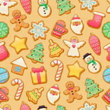 Colorful beautiful Christmas cookies icons pattern Royalty Free Stock Image