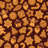 Colorful beautiful Christmas cookies icons pattern Stock Photography
