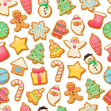 Colorful beautiful Christmas cookies icons pattern Royalty Free Stock Images