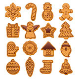 Colorful Beautiful Christmas Cookies Icons Set Stock Image