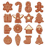 Colorful Beautiful Christmas Cookies Icons Set Royalty Free Stock Photo