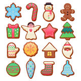 Colorful Beautiful Christmas Cookies Icons Set Royalty Free Stock Photos