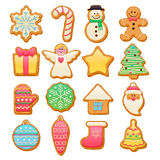 Colorful beautiful Christmas cookies icons set Royalty Free Stock Photography