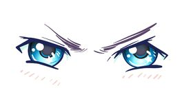 Colorful beautiful eyes in anime (manga) style with shiny light. Reflections. Bright vector illustration isolated. Aggressive emotions: expression of hate vector illustration