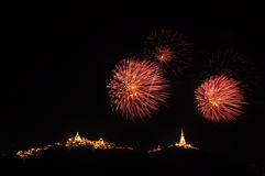 Colorful beautiful firework in celebration, Phetchaburi, Thailan Stock Photo