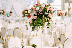 Colorful and beautiful flower bouquets on the table Stock Photos