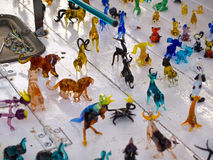 Colorful beautiful glass animals figurines Stock Photo