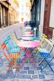 Summer empty open air restaraunt in european city. Colorful beautiful summer empty open air cafe in Vienna. Ice-cream cafe stock images