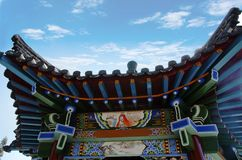 Colorful and beautiful temple building. The pavilion was shot at the Zhaojun Tomb of Hohhot and is a classic Chinese pavilion style royalty free stock images