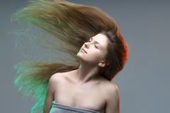 Colorful Beautiful Young Woman Posing Fantasy Portrait Colored L Royalty Free Stock Photos
