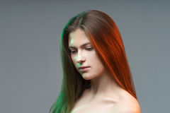 Colorful Beautiful Young Woman Posing Fantasy Portrait Colored L Royalty Free Stock Image