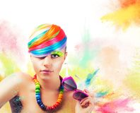 Colorful beauty fashion portrait Stock Images