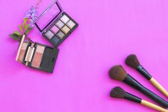 Colorful beauty skin face cosmetics makeup collection for lifestyle woman. On background pink stock image