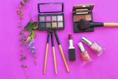 Colorful beauty skin face cosmetics makeup collection for lifestyle woman. On background pink royalty free stock photography