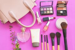 Colorful beauty skin face cosmetics makeup collection for lifestyle woman. On background pink stock photo