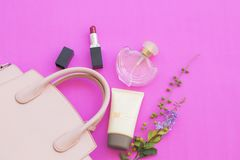 Colorful beauty skin face cosmetics makeup collection for lifestyle woman. On background pink stock photos