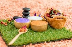Colorful Beauty Spa objects for Spa Massage. Concept Royalty Free Stock Image
