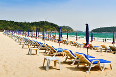 Colorful bed beach on nai han beach. Beach beds on Nai han beach phuket southern of thailand Stock Photography