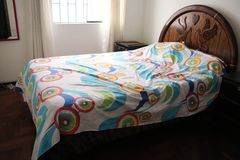 Colorful bed!! Quiet,peaceful and comfortable. royalty free stock photos