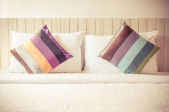 Colorful bed sheets and pillow. vintage style.  Royalty Free Stock Photos