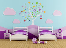 Colorful bedroom for girl Stock Photography