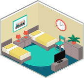Colorful bedroom interior in isometric style. Modern bedroom design with furniture including two beds. Colorful interior in isometric style. Vector 3D Royalty Free Stock Photos