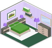 Colorful bedroom interior in isometric style. Modern bedroom design with furniture in violet and green colors. Colorful interior in isometric style. Vector 3D Royalty Free Stock Photo