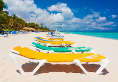 Colorful beds at a tropical beach in Cuba Stock Photo