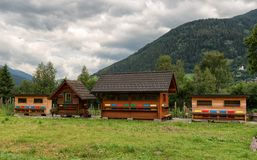 Beehives in Austria, apiculture. Colorful beehives in Austrian landscape. Apiculture, beekeeping stock photo
