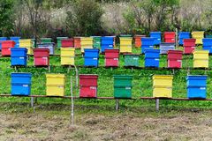 Colorful beehives Stock Photography
