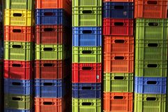 Colorful beer crates Royalty Free Stock Photo