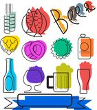 Colorful Beertime Icons. Set Of Colorful Beer Icons. Vector Icons. Creative Beer Icons and Symbols Stock Photos