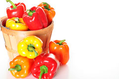 Colorful bell pepper basket with copyspace. Shot of a colorful bell pepper basket with copyspace Royalty Free Stock Photography