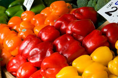 Colorful bell peppers. At the market Stock Image
