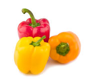 Colorful Bell Peppers. Isolated on a white background Royalty Free Stock Photos