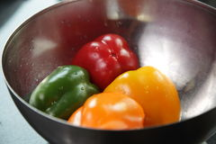 Colorful bell peppers in a bowl. An image of red, yellow, orange, and green bell peppers in a stainless steel salad bowl Stock Images