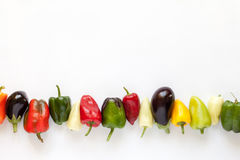 Colorful bell peppers and eggplants on white Royalty Free Stock Images
