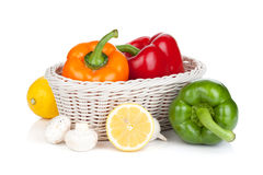 Colorful bell peppers with lemon and mushrooms Stock Image