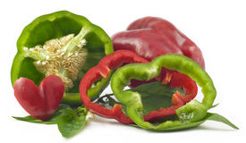 Free Colorful Bell Peppers On White Background Royalty Free Stock Photo - 11041665