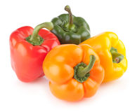 Colorful bell peppers. On white background Royalty Free Stock Photography