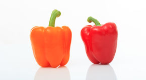 Colorful bell peppers on white background Royalty Free Stock Photo