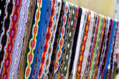 Colorful Belts in Mexico. Handcrafted belts for sale on the street of Mexico Royalty Free Stock Photos