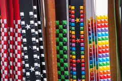 Colorful Belts with Studs Stock Photography